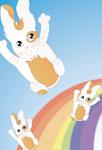 Lapinou sur un arc-en-ciel