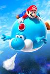 Mario qui vole sur un dino
