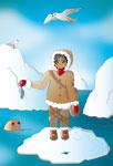 Esquimau nourrissant un phoque