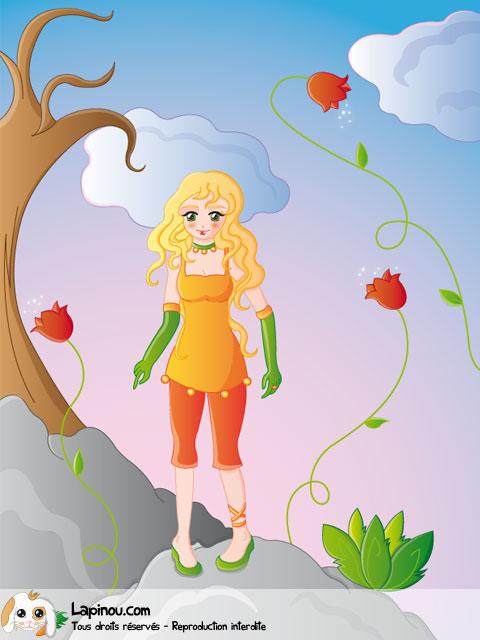 Jeune fille debout sur un rocher