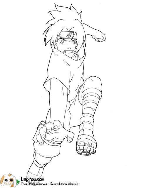 Sasuke au combat coloriages imprimer pour les enfants - Coloriage sasuke ...