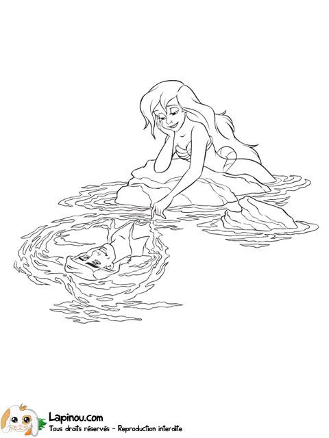 Ariel regardant son prince coloriages imprimer pour les enfants sur lapinou - Jeux de ariel et son prince ...