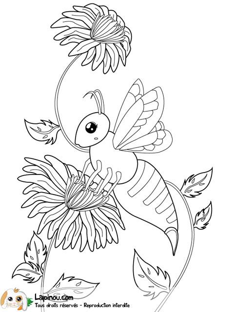 Coloriage Fleur Abeille.Abeille Butinant Une Fleur Coloriages A Imprimer Pour Les