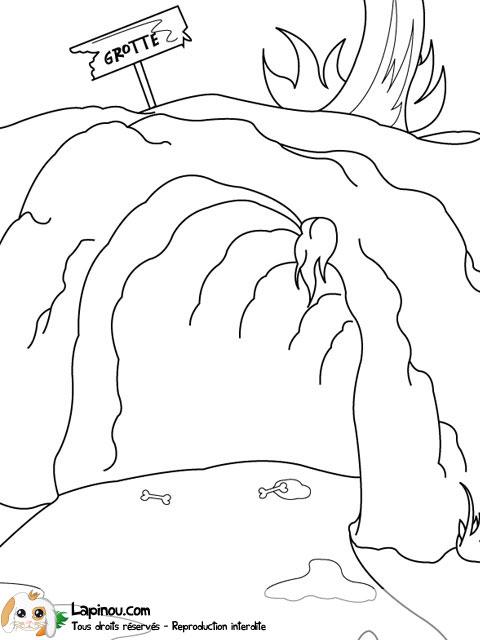 Grotte pr historique coloriages imprimer pour les enfants sur lapinou - Coloriage grotte ...