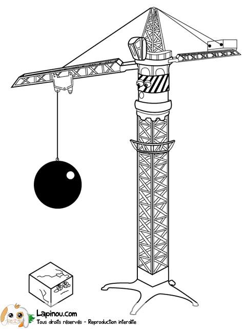 Grue de chantier coloriages imprimer pour les enfants sur lapinou - Jeux de grue de chantier ...