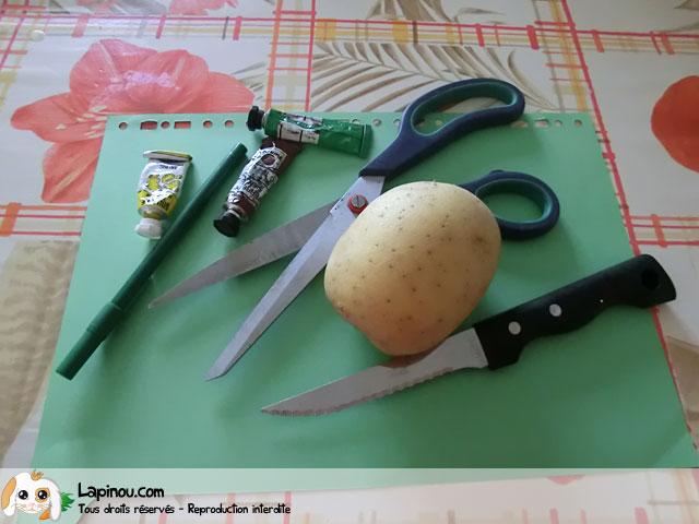 Carte peinte à la patate