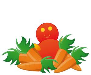 Le doudou dans un tas de carottes